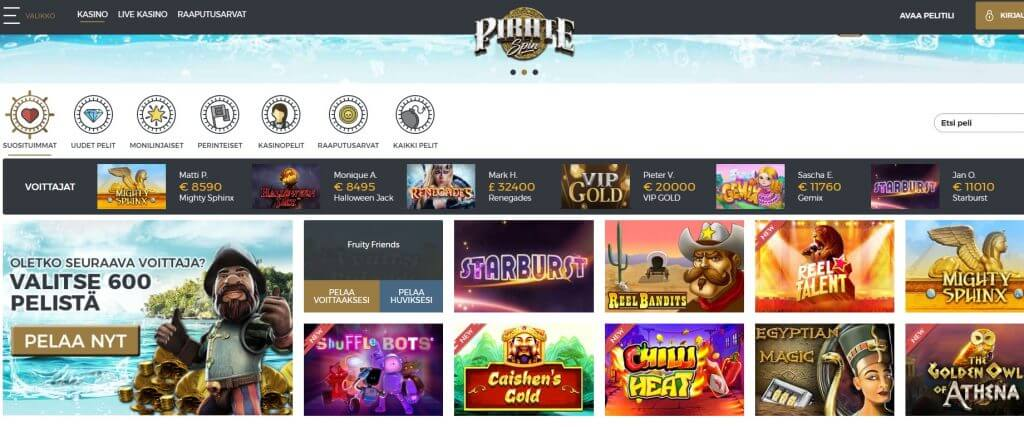 PirateSpin Casino pelit